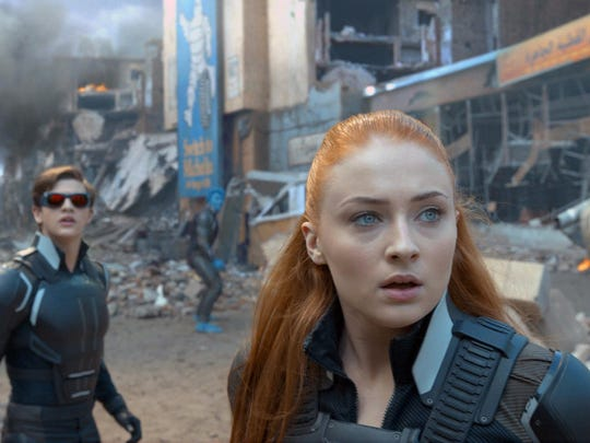 "Tye Sheridan, left, and Sophie Turner appear in a scene from ""X-Men: Apocalypse."""