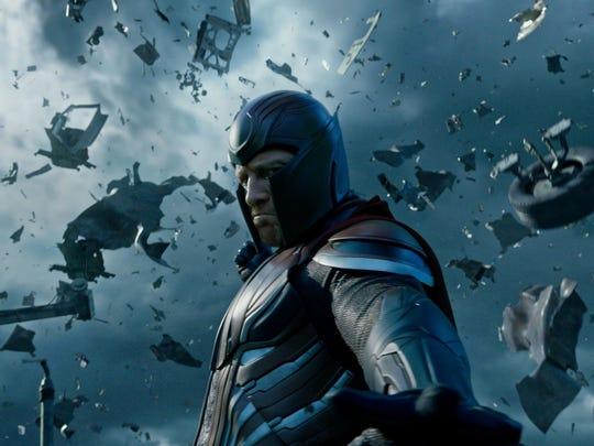 "Erik/Magneto (Michael Fassbender) has the power to manipulate magnetic fields in ""X-Men: Apocalyspe."""