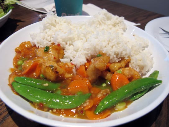 Pei Wei Spicy rice bowl at Pei Wei, 6821 Collier Blvd.,