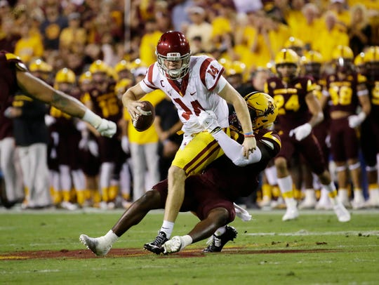 ASU linebacker Christian Sam sacks USC quarterback