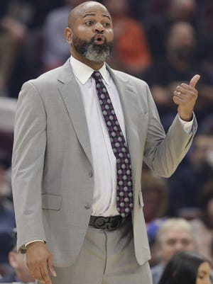 Cavaliers coach J.B. Bickerstaff gives instructions to players March 8 against the San Antonio Spurs in Cleveland.