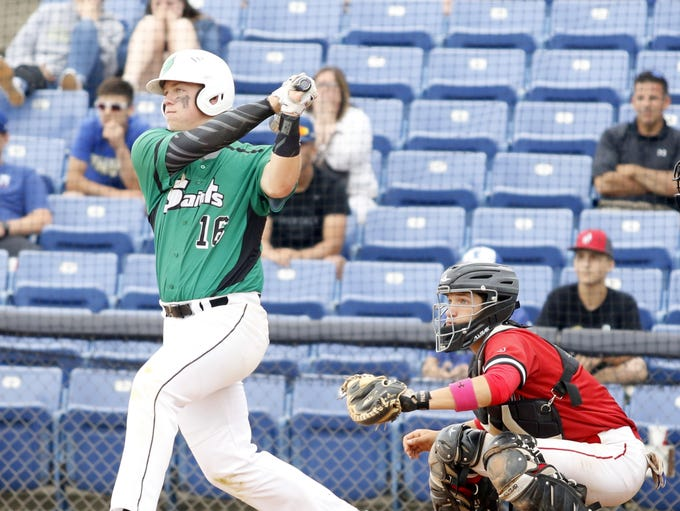 Mason Vaughan connects for a hit in the seventh inning