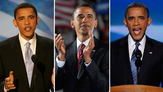Obama's convention speeches in 2004, 2008 and 2012.