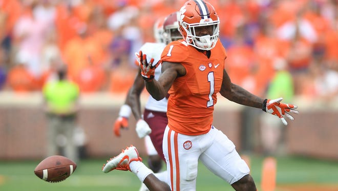 Clemson wide receiver Trevion Thompson (1) drops a pass during the 4th quarter against Troy Saturday, September 10, 2016 at Clemson's Memorial Stadium.