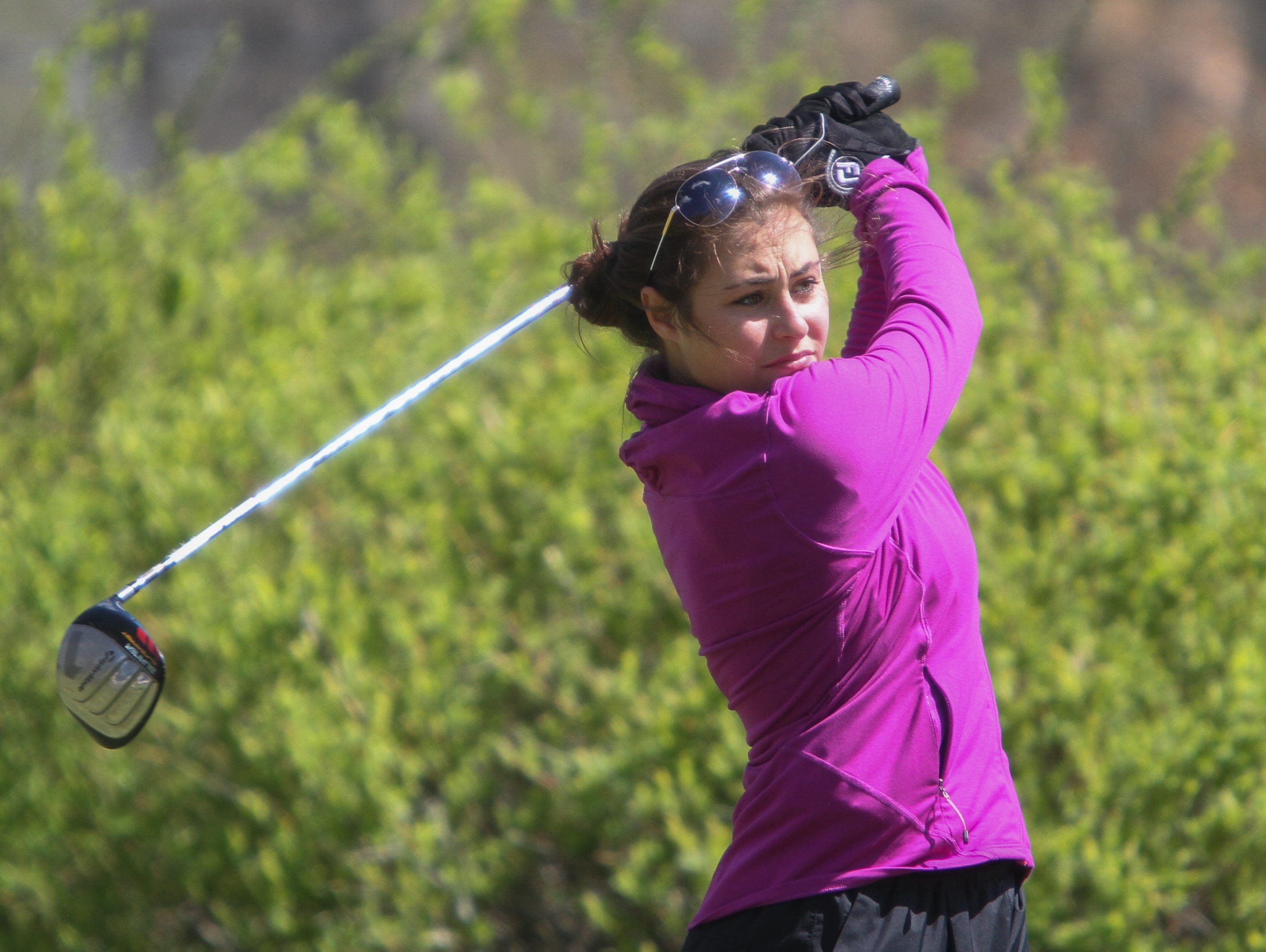 Pinelands' Danielle Elia hits a drive during the Shore Conference Tournament at Deal Golf & Country Club on Monday.