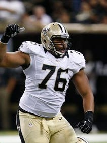 Akiem Hicks of the New Orleans Saints reacts against the Atlanta Falcons at the Superdome earlier this season.