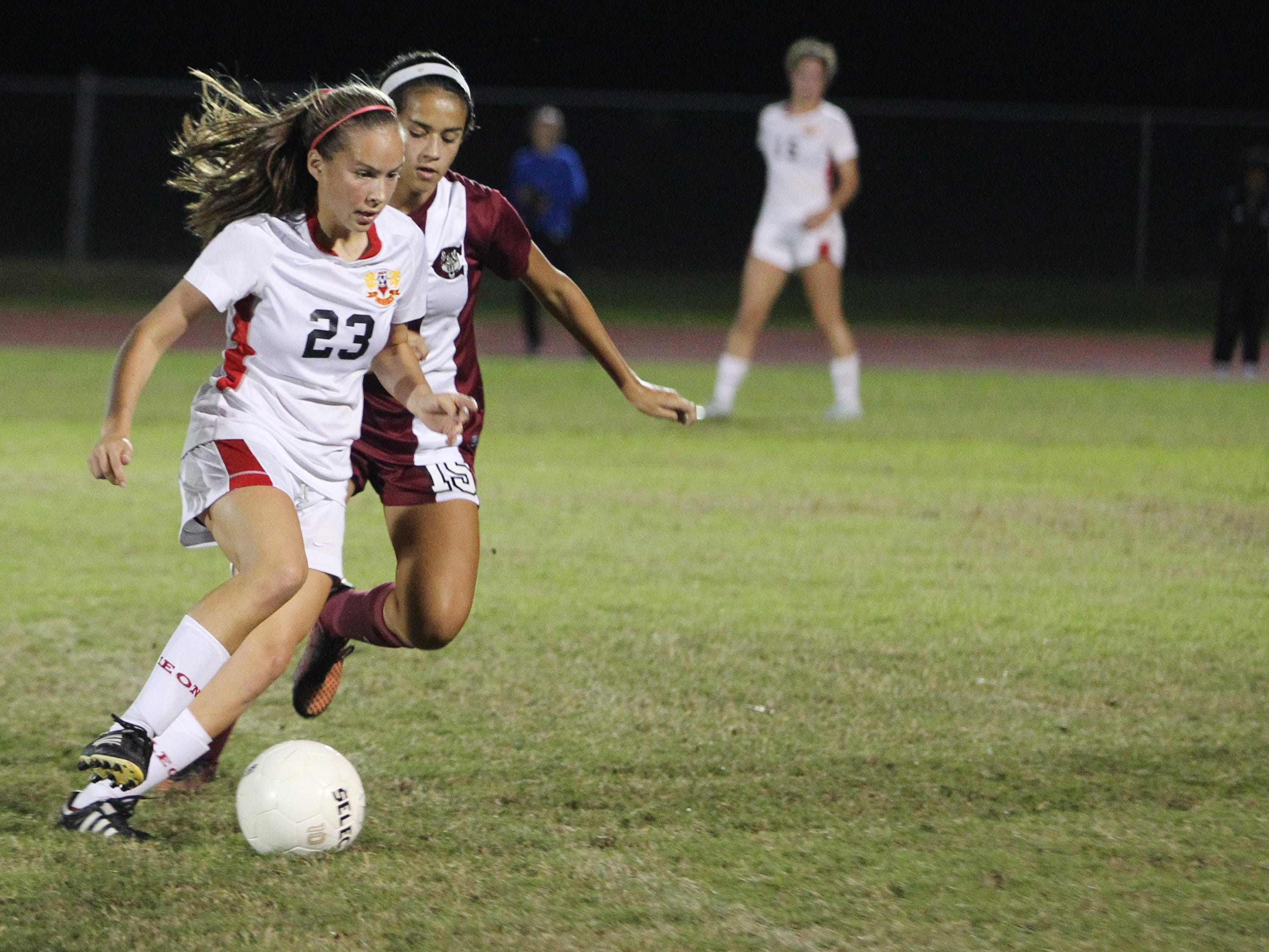 Leon midfielder Isabel Nunez will be acclimating to two new midfielders around her this year, an area that was a key to the Lions' district title last season.
