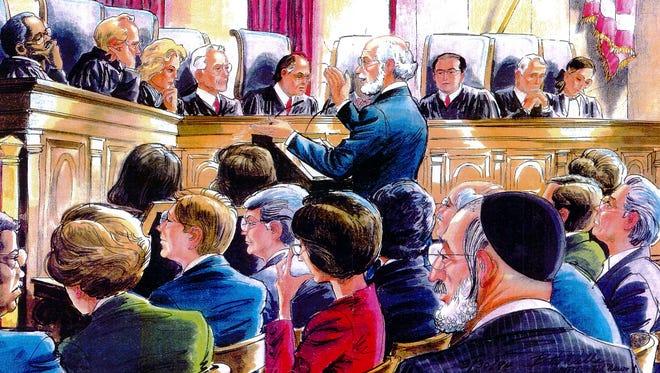 An artists rendering of the U.S. Supreme Court hearing of Board of Education of the Kiryas Joel Village School District v. Grumet in 1994.