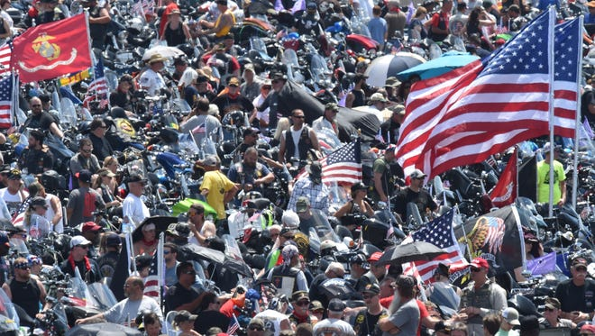 Thousands of motorcycle riders participating in the Rolling Thunder ride line up in the Pentagon parking lot May 29, 2016.