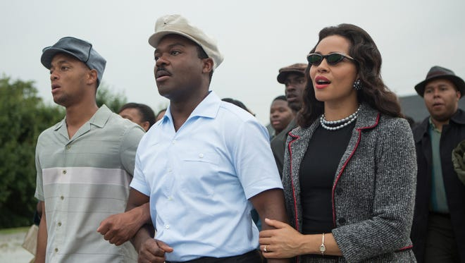 """David Oyelowo, center, as the Rev. Martin Luther King Jr,. and Carmen Ejogo, right, as Coretta Scott King in """"Selma."""" A grassroots effort to provide free tickets for students to see the film has now reached 20 cities, and includes three theaters in Westchester and several in northern New Jersey."""