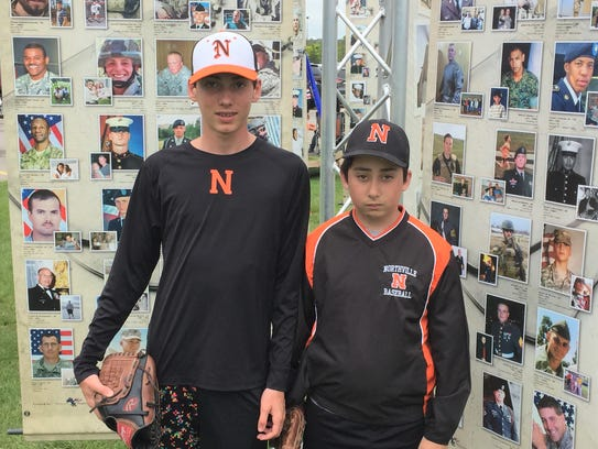 Northville 13-and-under Bronco players Luca and Colin