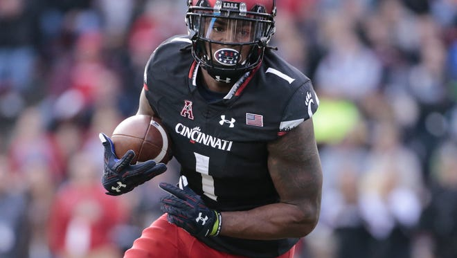 Kahlil Lewis leads University of Cincinnati receivers with 53 catches, 528 yards and four touchdowns.