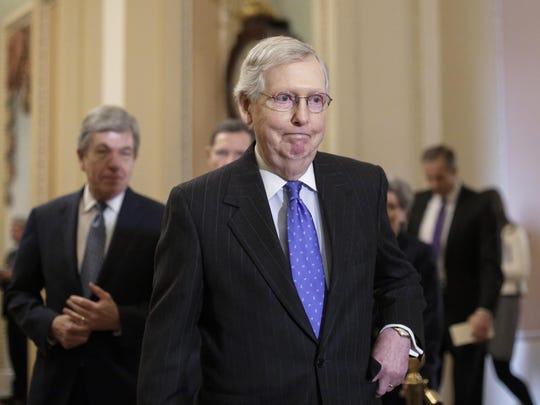 "In this Jan. 15, 2019, photo, Senate Majority Leader Mitch McConnell, R-Ky., arrives to speak to reporters following a weekly policy meeting on Capitol Hill in Washington. One of McConnell's guiding principles is: ""There's no education in the second kick of a mule."" Now, deep in a government shutdown he wanted President Donald Trump to avoid, McConnell is not about to be kicked again."