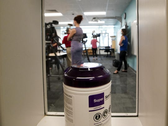 A container of sanitizing wipes sits at the entrance of a second grade classroom as media members attend a demonstration of a socially distanced classroom at A.J. Whittenberg Elementary School of Engineering on July 20 in Greenville, S.C.
