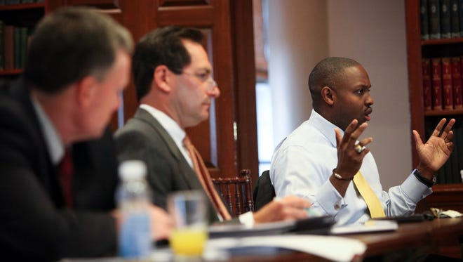State Treasurer Chip Flowers answers questions from the Cash Management Policy Board on Nov. 19.