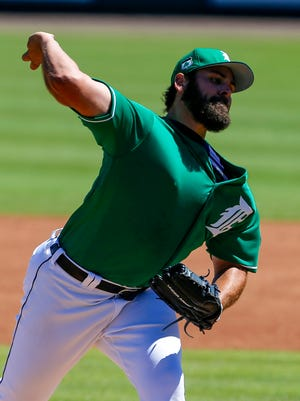 Tigers pitcher Michael Fulmer throws a pitch in spring training March 17, 2017 in Lakeland, Fla.