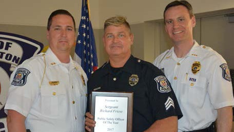 Sgt. Richard Friess (center) was recently recognized as Farmington Public Safety Department 2017 Officer of the Year. With him are the department's Deputy Director Frank Warthman (left) and Director Frank Demers.
