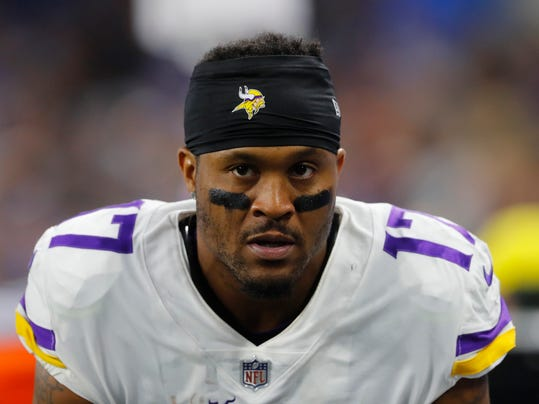 FILE - In this Nov. 23, 2017, file photo, then-Minnesota Vikings wide receiver Jarius Wright (17) watches during an NFL football game against the Detroit Lions, in Detroit. Wide receiver Jarius Wright says he's anxious to play again for Carolina offensive coordinator Norv Turner. Wright signed his three-year contract with the Panthers on Tuesday, March 20, 2018, one day after agreeing to terms. (AP Photo/Paul Sancya, File)