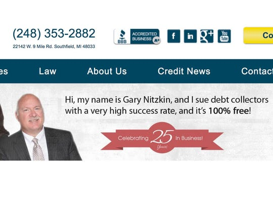 Attorney Gary Nitzkin insists his law firm  doesn't charge clients a fee. From his website, https://www.micreditlawyer.com/