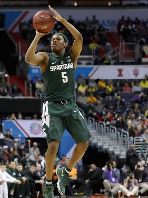 Michigan State's Cassius Winston puts up a shot against Minnesota during MSU's 63-58 loss in the Big Ten tournament Friday, March 10, 2017 in Washington.