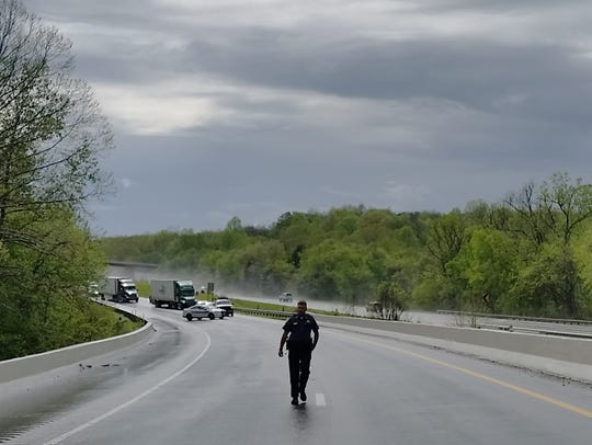 Sgt. Daniel Baker on Interstate 40 in Dickson County