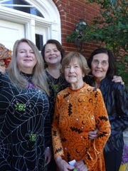 Potpourri Book Club hostesses Martha Hayden, Sue Nawas, Jane Hayden, and LaVerne Bodron. The meeting was held in the Nawas home.