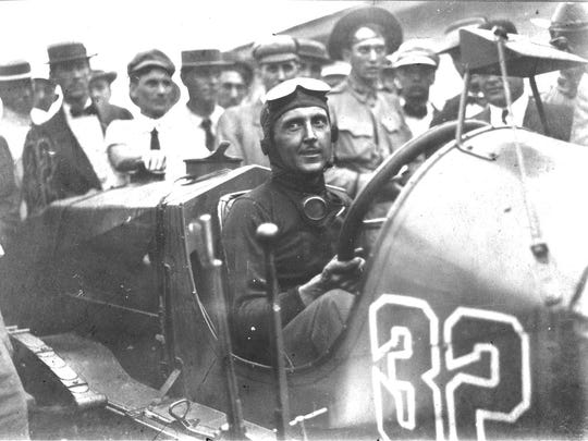 Ray Harroun winner of the first Indianapolis 500 on May 30 1911 was photographed by Indianapolis News photographer Paul Shideler.