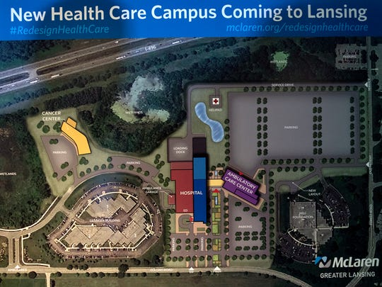 A rendering of McLaren's $450 million hospital photographed on Monday, Dec. 4, 2017, at the University Club in East Lansing.