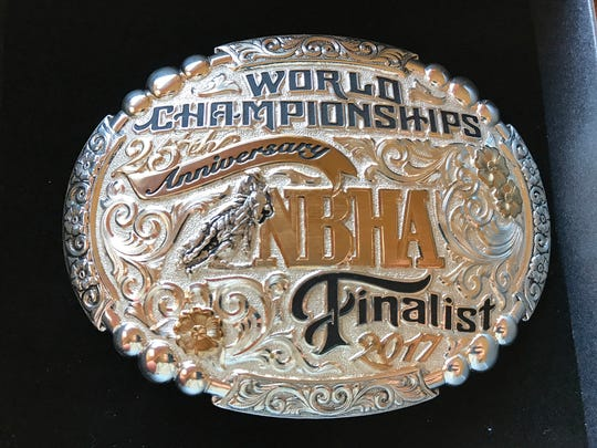 Seen in a Dec. 5, 2017 photo, Tori Olson earned this belt buckle from the 2017 NBHA World Championships.