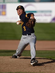 Midland's Lane Flamm pitches against D-BAT 17 during