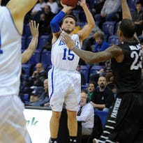UNC Asheville will need the shooting touch of leading scorer Andrew Rowsey (15) this week at the Big South Conference Tournament. Rowsey leads the Bulldogs with an 18.9 points per game average.