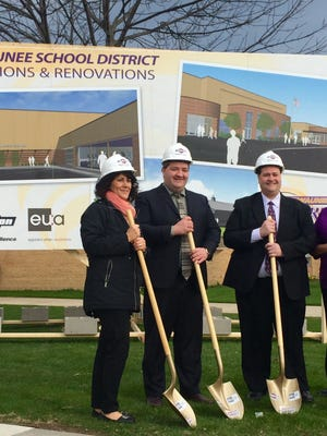 A groundbreaking was held on April 25 for Kewaunee School District's facilities renovations and additions.  Left to right area: Mayor Sandi Christman, City Administrator Kyle Ellefson, Board President Brian Vogeltanz, and Superintendent Karen Treml.