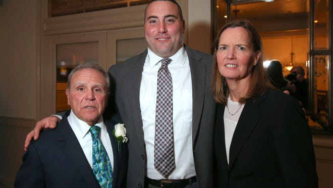 Honoree's Phil DiRuocco, Matt Bernstein and Kathy Behrens at the Westchester Sports Hall of Fame induction dinner at Dunwoodie Golf Course in Yonkers on Wednesday.