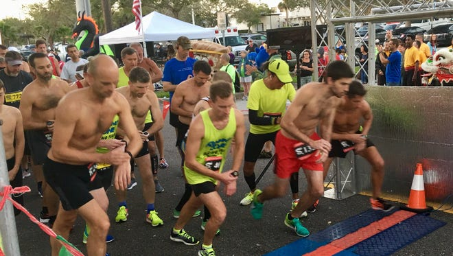 Runners at the starting line of the Eye of the Dragon 10K in Melbourne