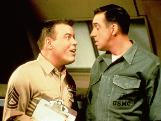 "Frank Sutton (left) as Sgt. Vincent Carter lectures Jim Nabors as Pvt. Gomer Pyle in a scene from ""Gomer Pyle U.S.M.C."" the popular '60s TV sitcom."