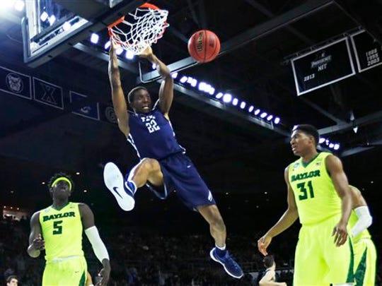 Yale forward Justin Sears (22)  dunks against Baylor