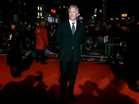 "FILE - In this Thursday, Jan. 10, 2008 file photo, actor Alan Rickman arrives for the European premiere of the film ""Sweeney Todd: The Demon Barber of Fleet Street"" in London. The classically-trained stage star and screen villain in the ""Harry Potter"" saga and other films died of cancer on Jan. 14, 2016."
