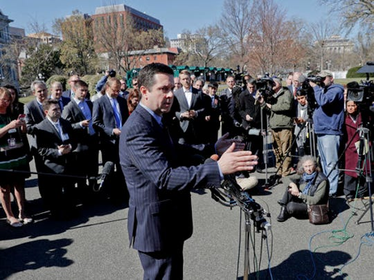 House Intelligence Committee Chairman Rep. Devin Nunes, R-Calif. speaks with reporters outside the White House in Washington, Wednesday, March 22, 2017, following a meeting with President Donald Trump.
