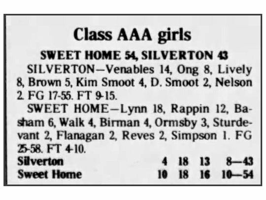 A high school girls basketball box score from the Feb. 12, 1982 Statesman Journal shows a player with the last name Lynn led Sweet Home with 18 points. Capi Lynn, now a columnist for the newspaper, played for the Huskies in the early 1980s.