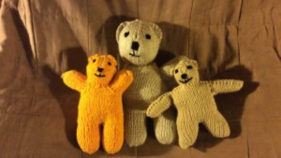 Here are the three bears I've made so far for Grace Healthcare Services. I like the biggest one the best, but I am asking myself if I am taking too long to make him. The smaller bears take less time.
