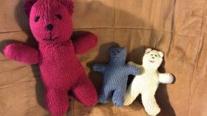 I finished the big red bear, and Lynne made the two little cuties on the right.