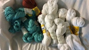 My new aqua Provence yarn goes well with the white and bronze  Provence yarn I already have,