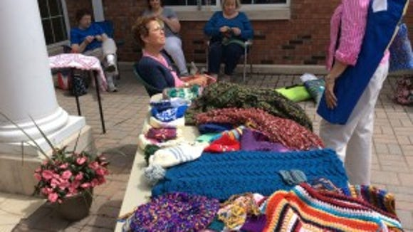 The Gates Avenue Knitters had some of their handiwork