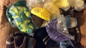 Three crafters have already donated an estimated total of 40 chemo caps or more.