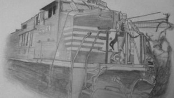 Train pencil sketch