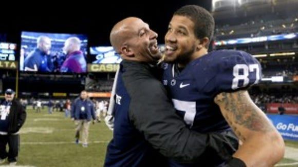 Where does senior tight end Kyle Carter (right) fit into Penn State's plans on offense this season? He will need to come up big if Adam Breneman is limited during his injury recovery.