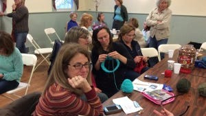 Knitters of all skill levels came to the Knitathon for Blink Now in Mendham on Sunday.