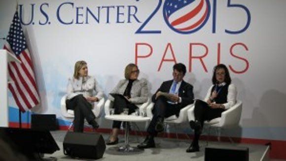 Panelists from NOAA, The Council for Environmental Equality, The Rockefeller Foundation, and HUD at the US Center.
