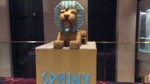 Lion Brand had knitted replicas of the Seven Wonders of the Ancient World at last year's Vogue Knitting LIve!