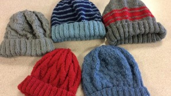 "These are the 5 hats I donated to the veterans at the ""Knitters Unite"" night at the Hunterdon County Library."